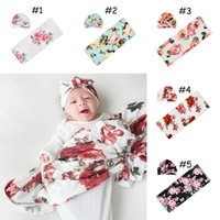 Baby Swaddle Blanket Rabbit Turban Hat 2 pcs Photography Sleeping Bags Wrap INS Toddler Cartoon Dinosaur Flower Print Sleep Sacks Prop