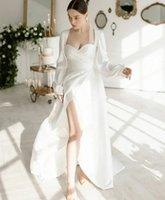 Beach Casual Wedding Dresses Bridal Gowns Boho Long Sleeve Sweetheart Hollow Back Sexy High Split Elegant Chiffon Vestidos De Noiva Custom Size