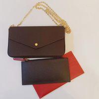 3 PC / 세트 디자이너 여성 이브닝 가방 패션 체인 지갑 레이디 클러치 어깨 가방 가죽 핸드백 장관식 미니 패키지 메신저 Satchels 카드 소지자 지갑