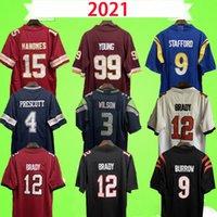 2021 15 Patrick Mahomes Jersey 99 Chase Jovem Futebol Matthew Stafford 4 Dak Prescott 3 Russell Wilson 12 Tom Brady 9 Joe Burrow Jerseys Vermelho Branco Azul Preto