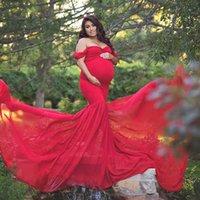 Maternité Photographie Prise de vue enceintes Coton en tissu de grossesse + Mousseline de mousseline Maternité Of Epaule Half Circle Robe Chaise Photo Robe enceinte Q0713