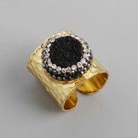 Anillos de racimo borosa tamaño ajustable redondo titanio rainbow druzy circon pavimentado drusy anillo anillo joyería para gota de fiesta jab755