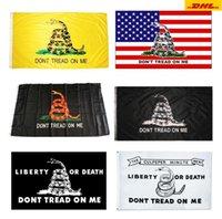 DHL FFREE 90 * 150 Trump Flag 3 * 5 piedi 90x150cm Bandiere presidenziali non calpestata su di me Snake Gadsden Flag