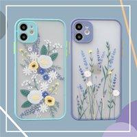 Klare mattierte Rückenblumen Pflanzen Handyhüllen Mädchen Frauen drucken Kleine Blumenkamera Objektivschutz Mobiltelefonabdeckung für iPhone 12 11 Pro Max XR xs x 8 7 Plus