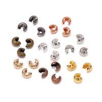 100 stks / partij koperen ronde covers crimp end bead dia 3 4 5 mm stop spacer kralen voor diy sieraden maken bevindingen benodigdheden