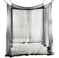 4-corner letto da letto a baldacchino zanzariera per queen / king di dimensioni 190 * 210 * 240 cm (nero) letti biancheria tenda decorazione della catena