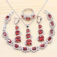 Set di gioielli da sposa in argento 925 per donne rosso granato bianco collana pendente braccialetti lunghi orecchini anelli regalo di compleanno