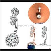 Çan Kristal Göbek Piercing Düğmesi Bar Barbell Bırak Dangle Göbek Yüzük Nombril Ombligo Yüzük Kadın Erkek Vücut Takı Rlrx CJXDA