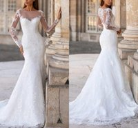 Elegant Tulle Mermaid Wedding Dresses Sheer Jewel Neck Bridal Gowns Lace Appliques Long Sleeves Sweep Train Beach Robes De Mariée