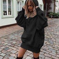 Frauen Hoodie Sweatshirts Kleid Herbst Langarm Casual Solid Lose Pullover Tops Taschen Winter Kapuze Vestidos11