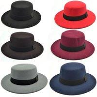 Marka Ozyc Kış Sonbahar İmitasyon Yün Kadın Erkek Bayanlar Fedoras Üst Caz Şapka Avrupa Amerikan Yuvarlak Caps Mowler Şapkalar Geniş Ağız