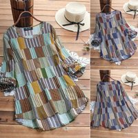 Womens Spring Autumn Long Sleeve Loose Casual Round Neck Color Plaid Shirt Summer Fashion Plus Size L-5XL Blue Green Women's Blouses & Shirt