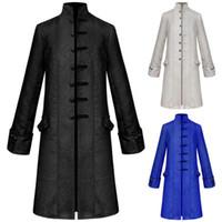 Мужская средневековая куртка ветровка вскользь платья длинные стоячие воротник принц пальто