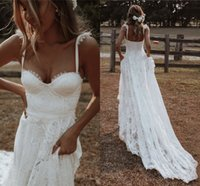 Bohemian Country Wedding Dresses 2021 Sweetheart Lace Applique Fairy Summer Beach Seaside Bride Garden Reception Dress Robes