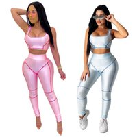 2021 summer dresses women tracksuits solid color tight sports yoga stitching striped suit womens sets Girl Printed Top down woman sexy jumpsuit