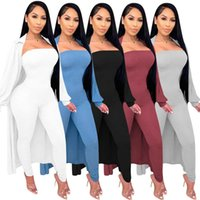 Women Two Piece Pants Outfits Jumpsuit And Long Coat Autumn And Winter One Word Wipe Shoulder Rompers Long Sleeve Coat