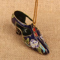 Handcrafted Colorful Enamel Filigree Shoe Charms for Keychain Car Key Bag Christmas Tree Hanging Pendant Cloisonne Decorations