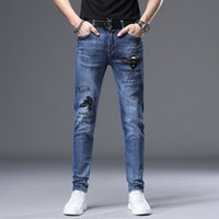 Mens jeans pants slim stretch casual printing drill Korean Blue Youth mens fashion