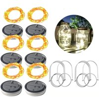Solar Power Mason Jar Lid Lamps Waterproof Fairy Firefly String Lighting for Outdoor Patio Garden Xmas Wedding Party White 2m 20leds