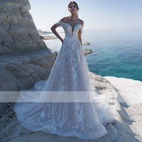 2021 Charming Boat Neck Beading Customized A-Line Wedding Dress Gorgeous Lace Appliques Off the Shoulder Bohemian Bridal Gown