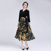 Women's dress 2021 Ladies Casual 3 4 Sleeve V-Neck Printed Lace-up Stitching Fashion Dresses