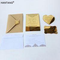 Grußkarten 115x175mm Rechteckform Gravierter goldener Spiegel Acryl Hochzeitseinladungskarte Set 100 Sets pro Lot