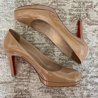 Women wedding dress pump Sandal brand red bottom high heels Black nude patent leather calfskin NEW- Simple paltform pumps red-soled sexy lady