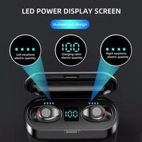 TW Earphone Bluetooth Wireless V5.0 F9 TWS sports Headphone LED Display With 2000mAh Power Bank Headset Microphon