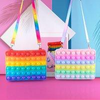 Party Favor Fidget Toys Silicone Bubble Rectangular Storage Mini Bag Antistress Popp Its Decompression Tote bags Rainbow Phone Case