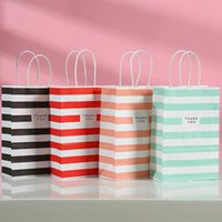 Gift Wrap Color Paper Bags Kraft Bag With Handles Packing Box Wedding Party Supplies Handbags Cookie Candy Package For Store Clothes