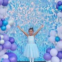 I iridiscente azul brillante lentejuelas pared panel decorativo viento activar sparkle boda evento festival festival de decoración de decoración fiesta