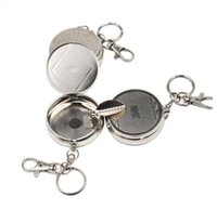Outdoors Round Cigarette Ashtrays Smoking Accessories Tool Keychain key Ring Metal Holder Storage Stainless Steel Pocket Case