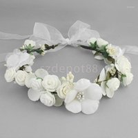 Boho Girl Floral Crown Flower Headband Hair Garland Wedding Headpiece White Pink Coffee1