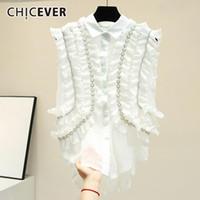 Frauen Blusen Shirts Chicever Casual Chiffon Patchwork Mesh Rüschen Frauen Hemd Revers Kurzarm Perlenknopf Slim Bluse Weibliche 2021