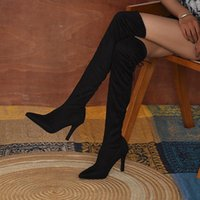 Boots 2021 Women Over -The -Knee Shoes High Heels Black Leopard Tabby Pointed Toe Sexy Stretch Winter