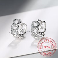 Hoop & Huggie Real 925 Sterling Silver Chain-shaped Earrings For Women Round Circle Micro-Lnlaid Zircon Wedding Party Jewelry Gifts