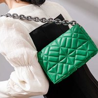 Brand Design Casual Women Chain Shoulder Bag Soft Pu Leather Purses and Handbag Green Clutch Tote Bags for Without Tags