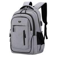 Big Capacidade Homens Backpack Portátil 15.6 Oxford Grey Sólido Sólido Sacos Adolescentes Estudante Colégio Back Pack Multifuncional Bagpack 201188