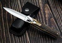 The Horizontal Single Action Bill DeShivs Folding Knives D2 Blade Antlers Handle Tactical Survival Knife EDC Tools BM42