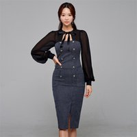 Escritório Chiffon Stitching Bow Vestido Coréia Ladies Manga Longa Grupo Pescoço Formal Party Vestidos para Mulheres Roupas 210530