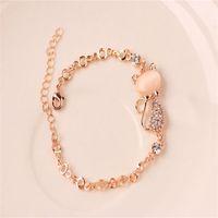 Розовые золотые сплава Прекрасные браслеты для кошек для женщин Femme дети дети девушка подарок ювелирные изделия Crystal Ofals Rhinestone Bangle Chate 1198 Q2