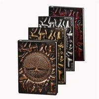 Anaglyph Notebook Retro Planer Geprägte Leder Notizbücher Reise Tagebuch Bronze Bücher A5 Gesellte Zeitschrift Schulbedarf XBJK2104