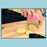 Fruit Tools Kitchen, Dining Bar Home & Gardenmti-Purpose French Fries Cutter Stainless Steel + Pp Handle Wave Potatoes Knife Creative Vegeta