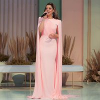 Arabic Dubai Muslim Pink Chiffon Long Mermaid Evening Dresses 2021 Sexy Red Carpet Celebrity Formal Prom Party Gowns Robe De Soiree