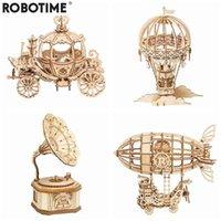 Robotime Nova Chegada DIY 3D Gramofone Caixa, Carrinho De Abóbora De Madeira Puzzle Jogo Montagem Popular Brinquedo Presente Para Crianças Adulto TG408 210417