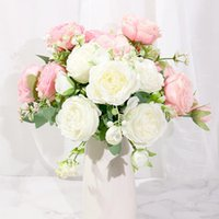 Beautiful Rose Peony Artificial Silk Flowers Big White Bouquet Vases For Home Party Spring Wedding Decoration Bridal Fake Plan Decorative &