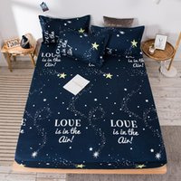 Sheets & Sets 3pcs Bed Sheet With Case Night Sky Printed Fitted Elastic Linen Polyester Mattress Cover Queen Size