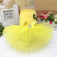 Yaz Pet Giysi Yay Elbise Köpek Elbise Küçük Köpek için Prenses Düğün Etek Lüks Giyim Köpek Yumuşak Dantel 595 S2