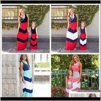 여름 줄무늬 엄마 여자 드레스 어머니 딸 드레스 가족 일치하는 가족 일치 엄마와 나 옷 dht475 fes6e h7cir