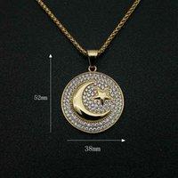 Хип-хоп Hiphop Ювелирные Изделия Титана Стальная Позолоченная Мусульманская Звезда Луна Военная Война Флаг Ожерелье 956 T2